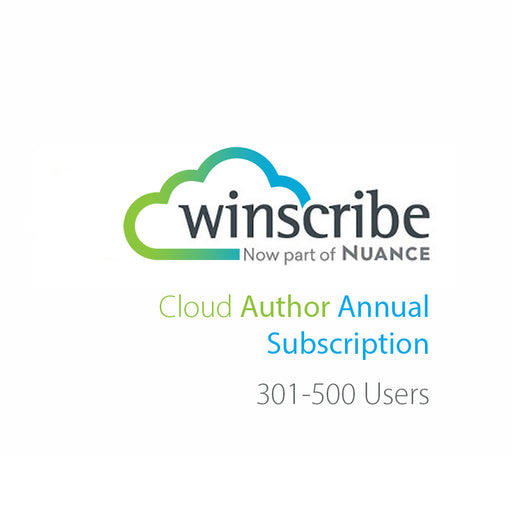 Nuance Winscribe Cloud Author Annual Subscription (301-500 Users) - The Speech Shop