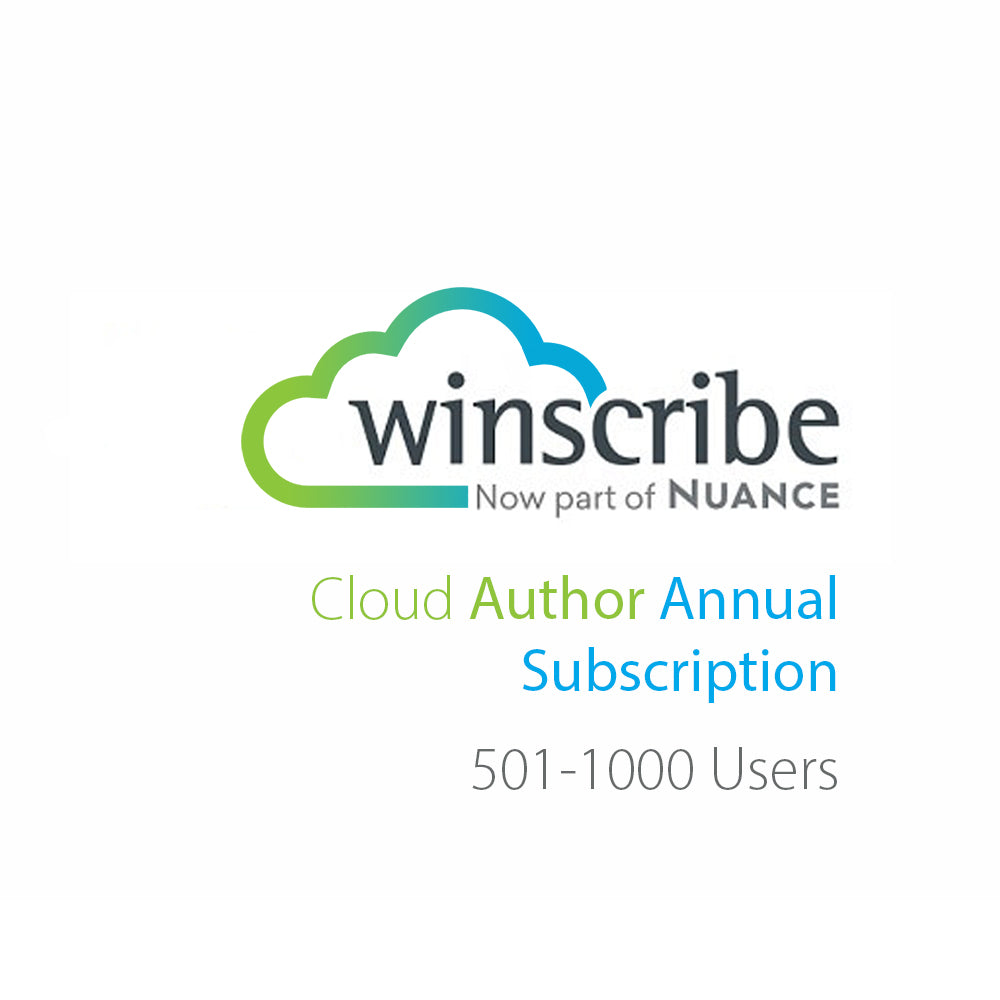 Nuance Winscribe Cloud Author Annual Subscription (501-1000 Users) - Speak-IT Solutions LTD