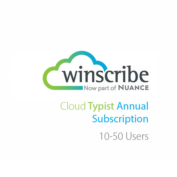 Nuance Winscribe Cloud Typist Annual Subscription (10-50 Users) - Speak-IT Solutions LTD