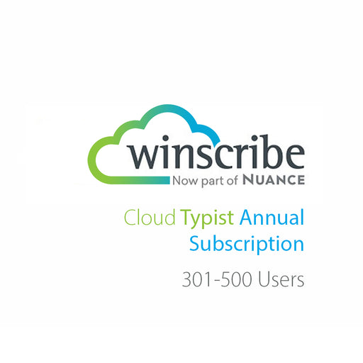 Nuance Winscribe Cloud Typist Annual Subscription (301-500 Users) - The Speech Shop