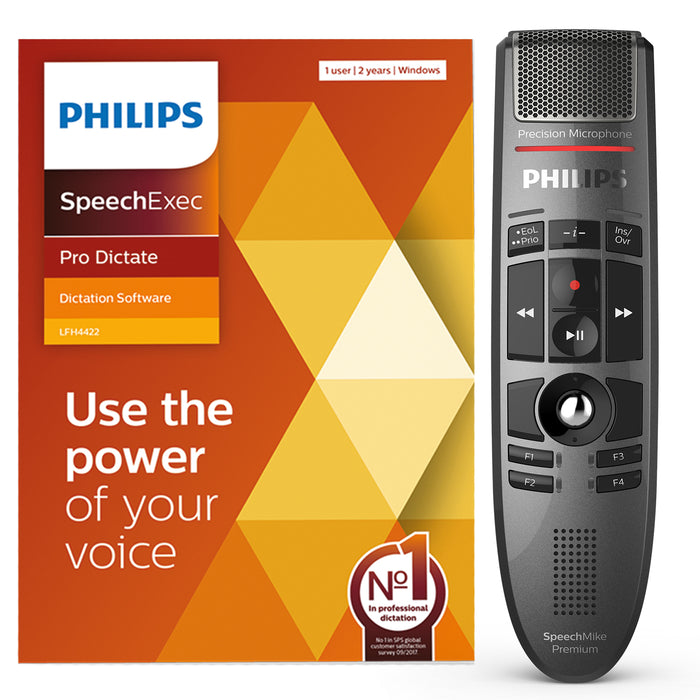 Philips LFH3500 SpeechMike Premium with SpeechExec Pro Dictate V11 Software - Speak-IT Solutions LTD