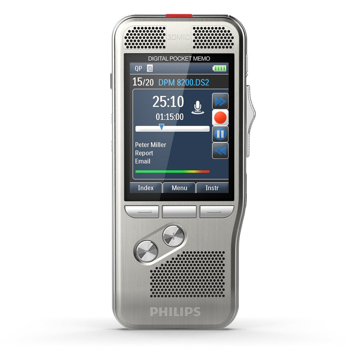 Philips DPM8200/02 Digital PocketMemo with SpeechExec Pro Dictate V11 2 Year License - Speak-IT Solutions LTD