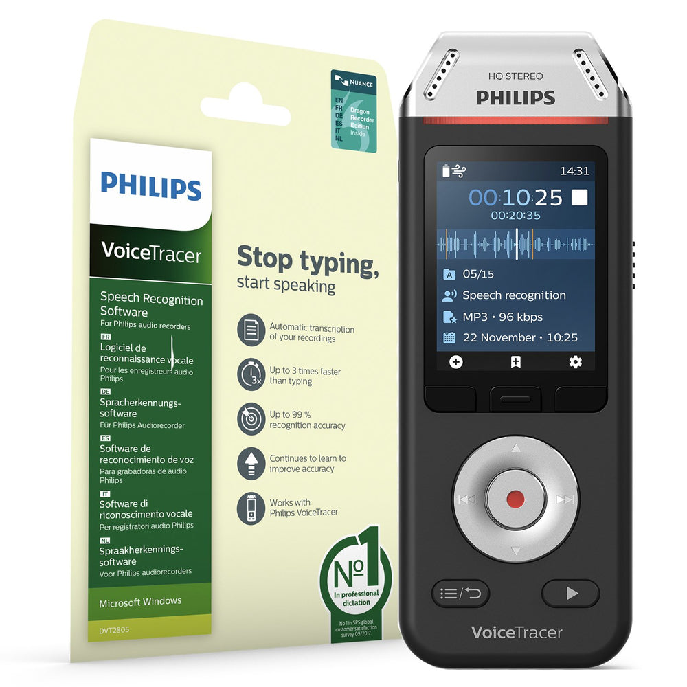 Philips DVT2810 VoiceTracer Recorder & Speech Recognition Set - Speak-IT Solutions LTD