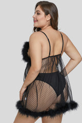 Black Marabou Cup Dotted Pattern Plus Size Babydoll
