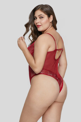 Sweet Floral Plus Size Teddy Lingerie - Red