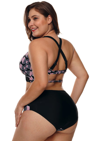 Plus Size Geometry Cross Back Bikini Swimsuit