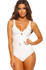Love You Knot White Ribbed Knot Front Bodysuit