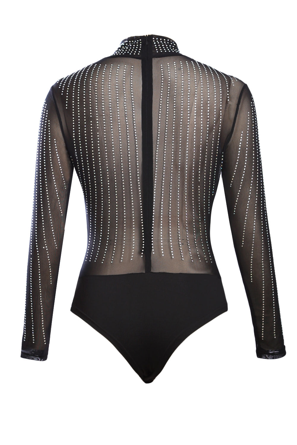 Black Iridescent Rhinestone Studded Mock Neck Long Sleeves Bodysuit