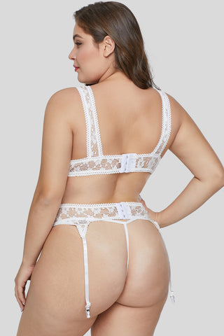 White Hollow-out Bust Plus Size Bralette Set