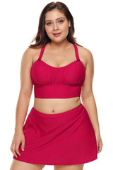 Red Wireless Plus Size Bikini Top and Swim Skirt Set