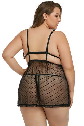 Black Plus Size Dot Mesh Lace Babydoll Set