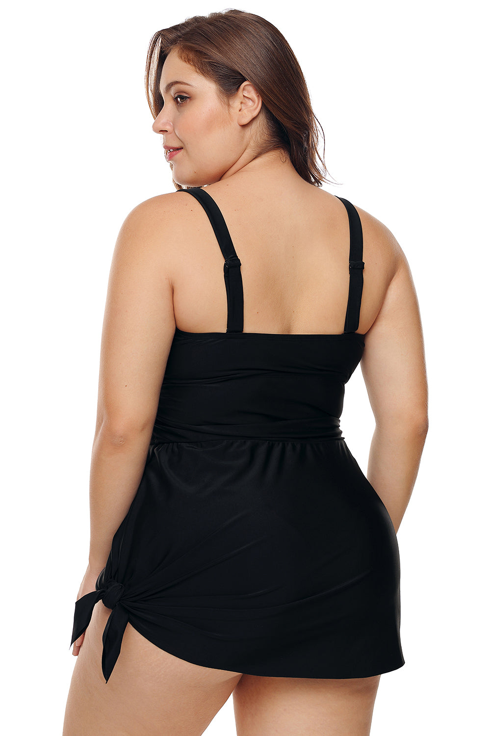 Black Plus Shoulder Straps Skater Swimdress Swimwear