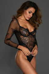Black Long Sleeve Underwire Lace Bodysuit