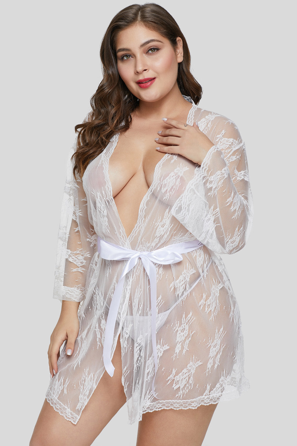 White Plus Size Butterfly Sleeves Lace Robe with Thong