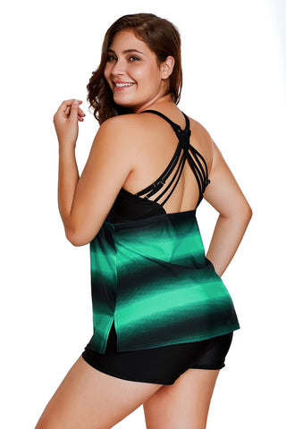 Greenish Strappy Hollow-out Back Plus Size Tankini
