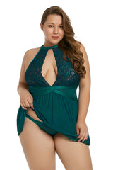 Green Plus Size Sheer Fantasy Babydoll Set