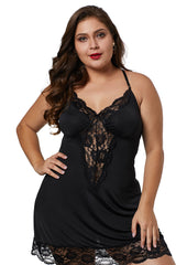 Black Venecia Chemise with Lace Trim