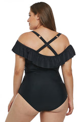 Black Ruched Ruffle Plus Size One Piece Swimsuit