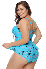 Blue Summer Beach Print Plus Size Ruffled Tankini with Panty