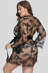 Black Plus Size Butterfly Sleeves Lace Robe with Thong