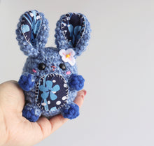 Blue Floral Bunny Bean, OOAK Rabbit Plush