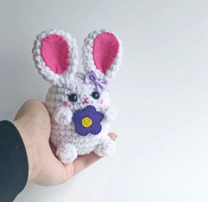 Cutesy Flower Gift Bunny Bean, OOAK Rabbit Plush