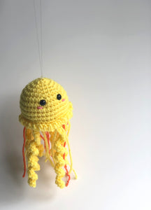 Bright Yellow Jellyfish Plush, Hanging Jellyfish Doll