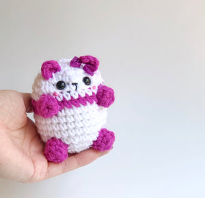 Magenta Bow Tie Panda Bean, OOAK Cute Teddy Bear