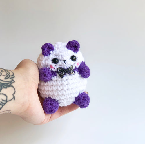 Purple Bow Tie Panda Bean, OOAK Cute Teddy Bear