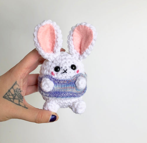 Sweet Mini Sweater Bun, OOAK Rabbit Doll in a Hand Knit Sweater