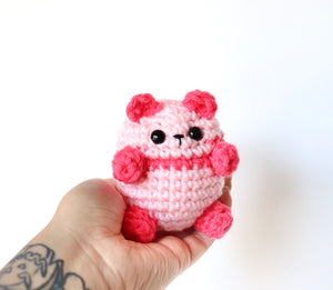 Bright Pink Panda, OOAK Mini Teddy Bear Bean