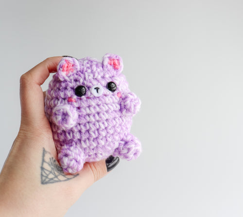 Cute Pastel Marble Bear, Mini Teddy Bear Bean, Purple & Pink