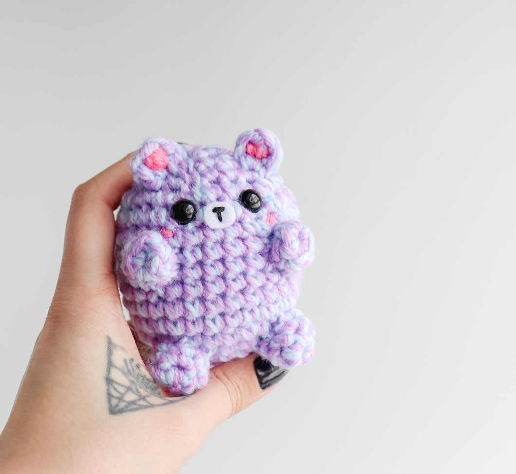 Cute Pastel Marble Bear, Mini Teddy Bear Bean, Purple & Blue