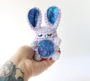 Sleepy Batik Bunny Bean, OOAK Bunny Plush
