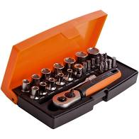 "BAHCO SL25 1/4"" DRIVE RATCHET AND SOCKET SET 25 PCS"