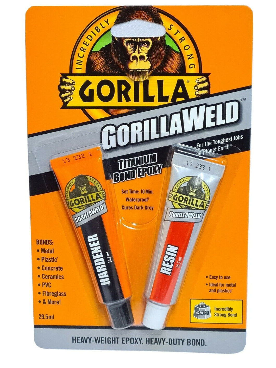 GORILLA WELD THE HEAVY-WEIGHT EPOXY WITH A TITANIUM BOND.