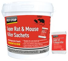 Super Rat & Mouse Killer Poison Sachets, 6 x 25g