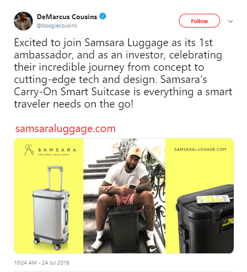 DeMarcus Cousins Joins Samsara Luggage as Investor and Ambassador
