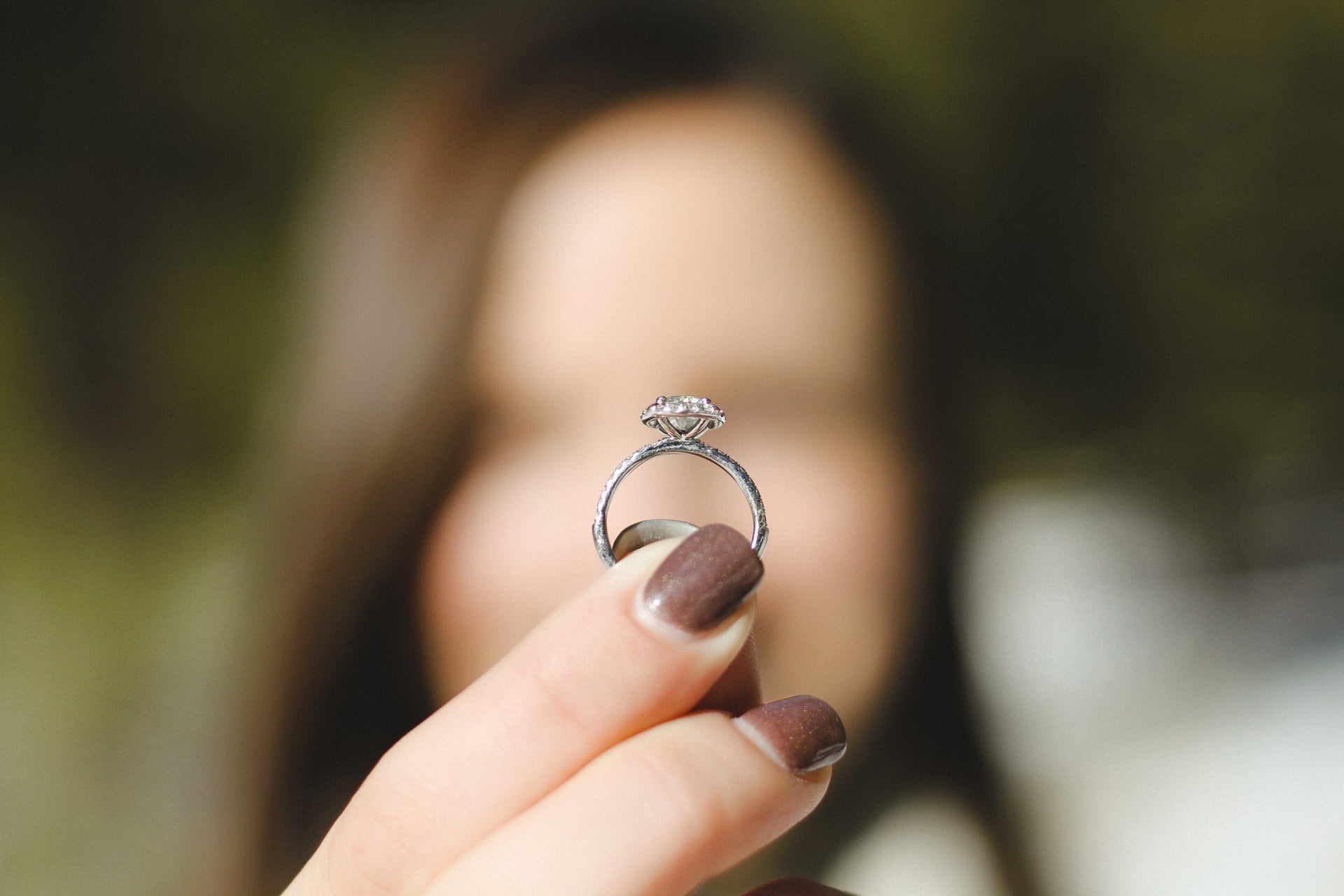 Woman holding an engagement ring