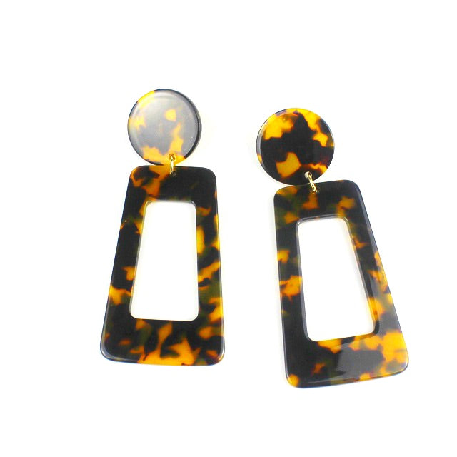 CLASSY' RESIN RECTANGLE DROP EARRINGS