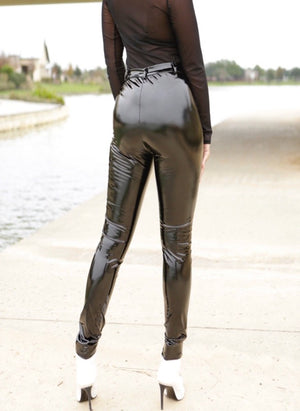 black POLISHED VINYL PANTS W/ ZIPPER