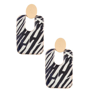 MOSAIC' GOLD CIRCLEDROP EARRINGS-ZEBRA
