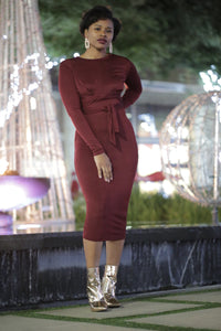 WINE DOWN' MIDI DRESS- BURGUNDY