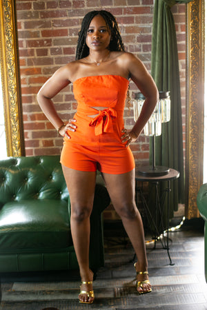 ORANGE DELIGHT' TUBE OPEN FRONT TIE ROMPER