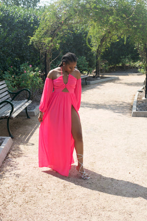ROMANCE ME' HIGH SLIT MAXI DRESS (HOT PINK)