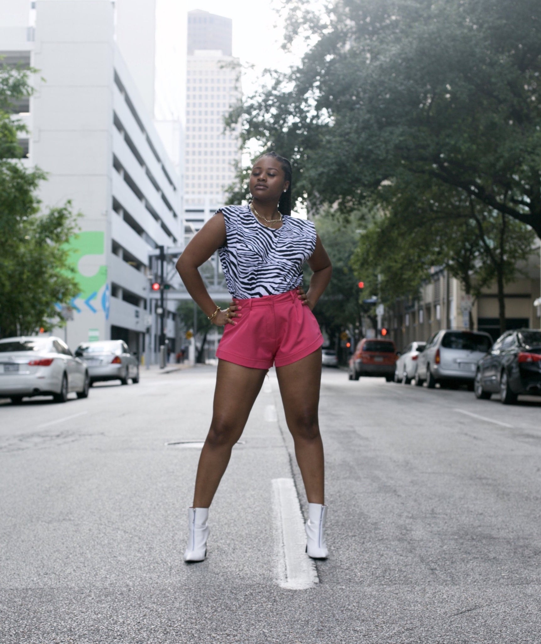 SWEET CHEEKS' FLARED MINI SHORTS (FUSHIA)