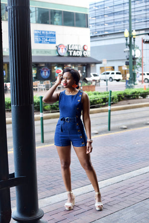 CHARMED' CHAMBRAY DENIM ROMPER