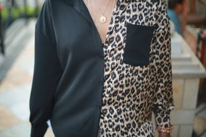 SPLITUATION' BLACK/LEOPARD BUTTON DOWN BLOUSE