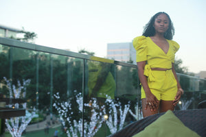 CITRON' PUFF SLEEVE TIE TOP & TAILORED SHORT SET