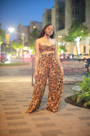MISS LEO' LEOPARD MULTI TIE TOP & PALAZZO PANT SET